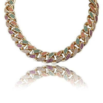 18MM Lab Diamond Multicolor Cuban Necklace