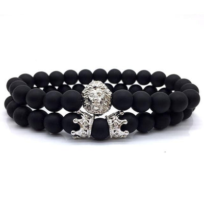 2pcs/set Lion Crown Stone Charm Bracelet