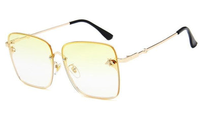Gold Clear Yellow WOMEN OVERSIZE MODERN SEMI RIMLESS METAL FLAT LENS SQUARE SUNGLASSES - Industry Pieces