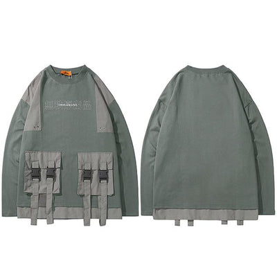 Kanji Print Multi Pocket Sweatshirt