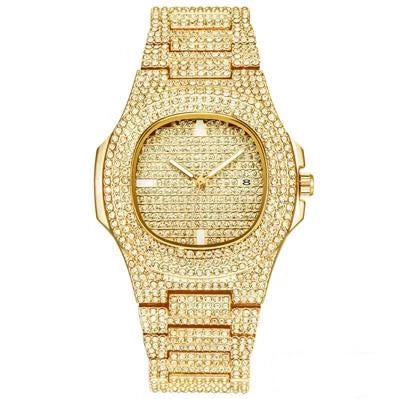 Iced Out Diamond Stainless Steel Watch