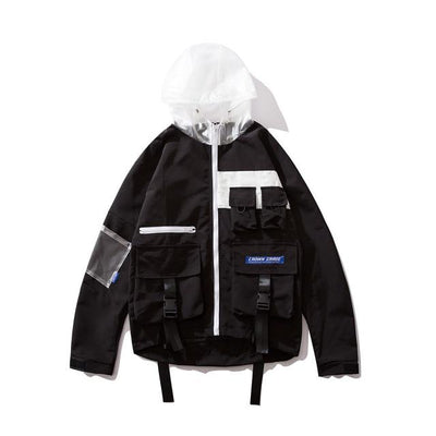 Buckle Ribbons Multi Pocket Hooded Jacket