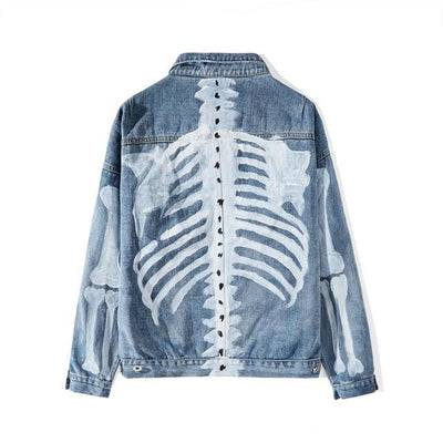 Graffiti Skeleton Print Denim Jacket