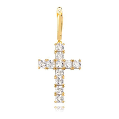 SILVER GOLD Lab Diamond Cross Earrings - Industry Pieces