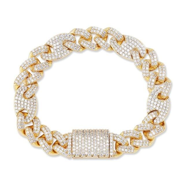 Miami Lock Clasp Lab Diamond Cuban Link Bracelet