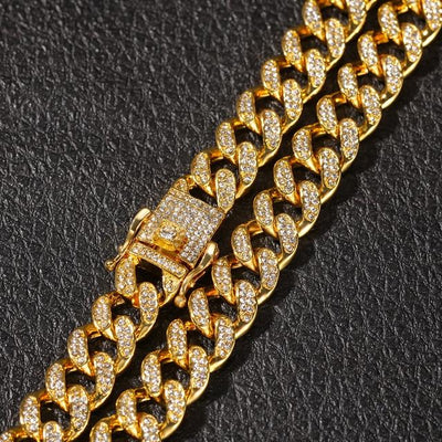 Gold color / 16inch 13mm Cuban Link Lab Diamond Necklace - Industry Pieces
