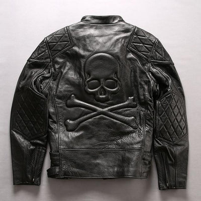 Men Retro Vintage Gray Motorcycle Leather Jacket