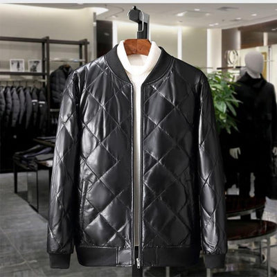 Men Luxury Leather Duck Down Leather Jacket