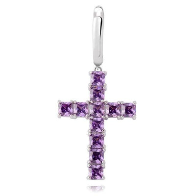 PURPLE Lab Diamond Cross Earrings - Industry Pieces