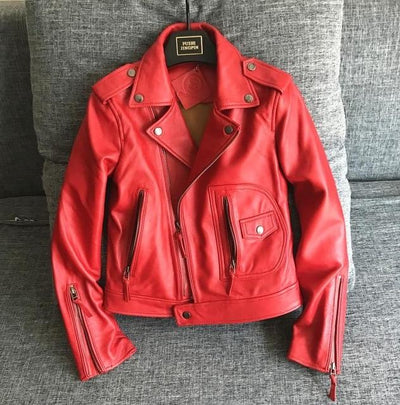 Fashion Red/Black Slim Short Ladies Biker Jackets