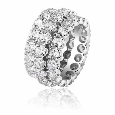 Three Rows Solitaire Charm Ring