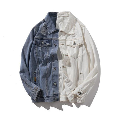 Patchwork Color Contrast Jean Jacket