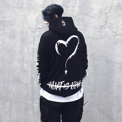 Men Women Loving Heart Print Headwear Hoodies