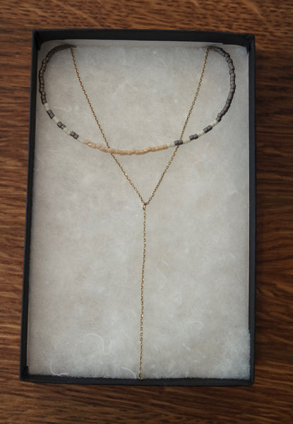 14k gold delicate gold lariat chain connects to a choker made from Japanese Miyuki beads.