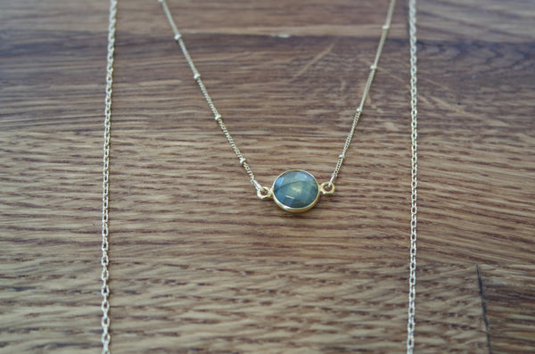 14k gold chains with labradorite stone and hammered gold charms.