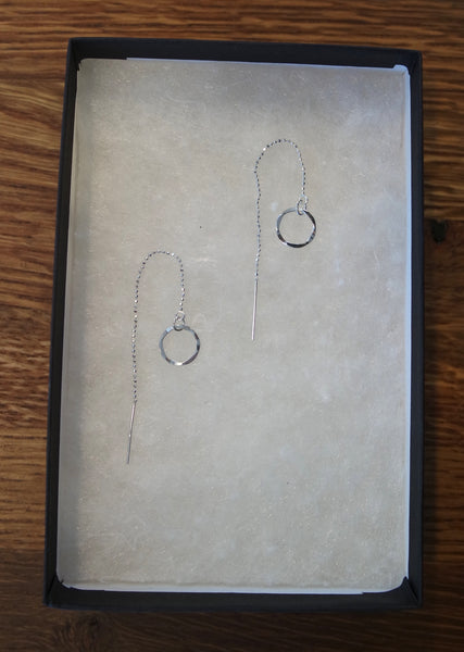 Sterling silver threader earring with delicate ball chain and hammered hoop.