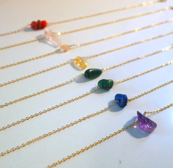 14k Gold Semi-Precious Stone Necklace
