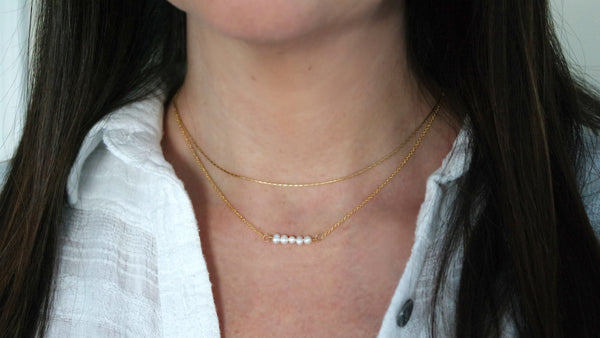 14K Gold Filled Freshwater Pearl Duo Necklace