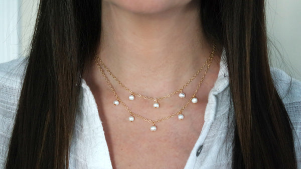 14K Gold Filled Freshwater Pearl Station Necklace