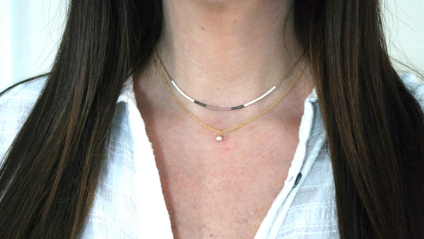 14K Gold Filled Freshwater Pearl Delicate Beaded Necklace
