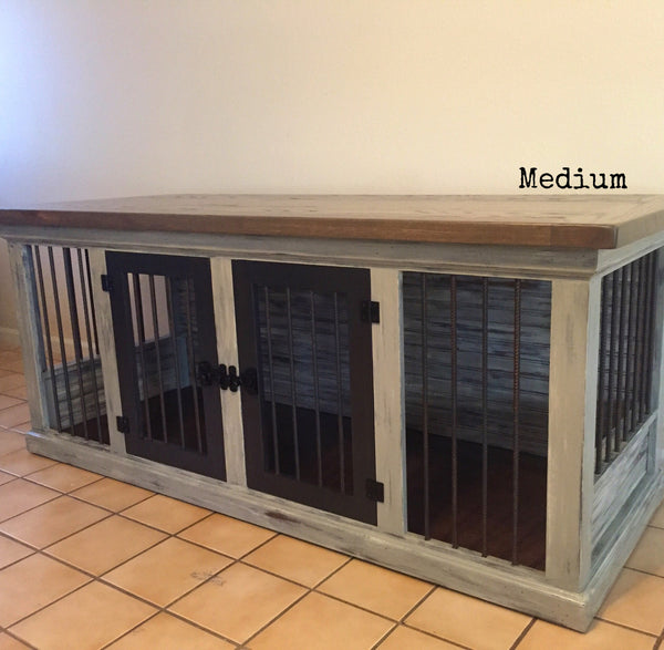 Farmhouse double dog kennel artsy reclaimed for Design indoor dog crate