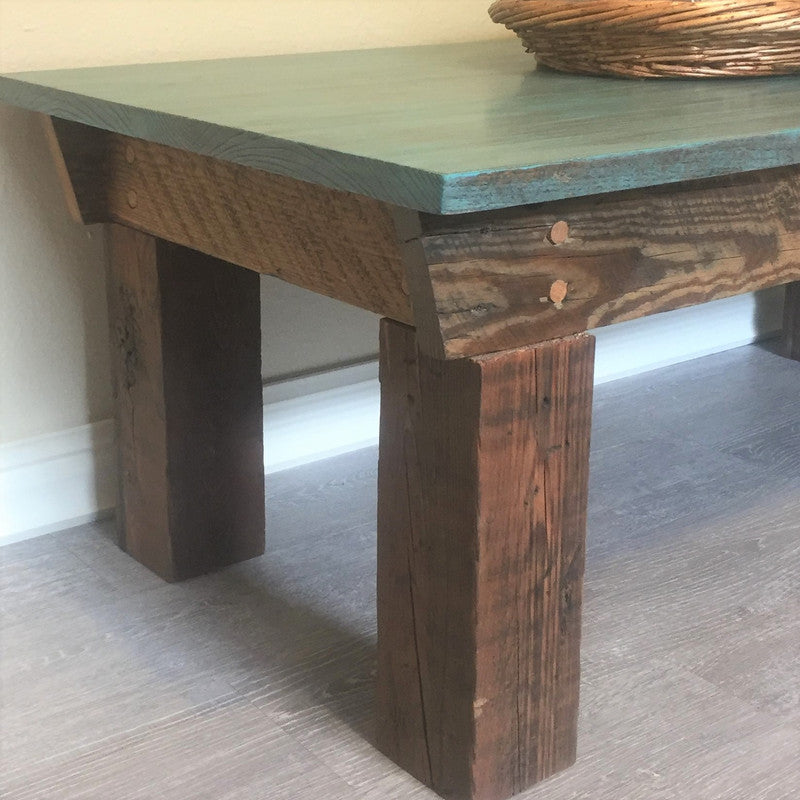 Reclaimed wood coffee table; up close and personal.