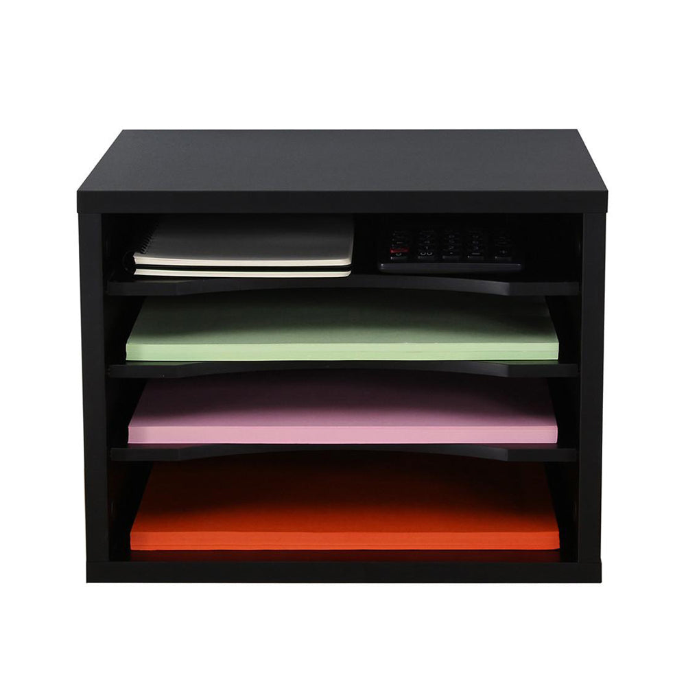FITUEYES Black Wood Desk Organizer with 4 storage Paper File Holder for Home and Office DO403501WB
