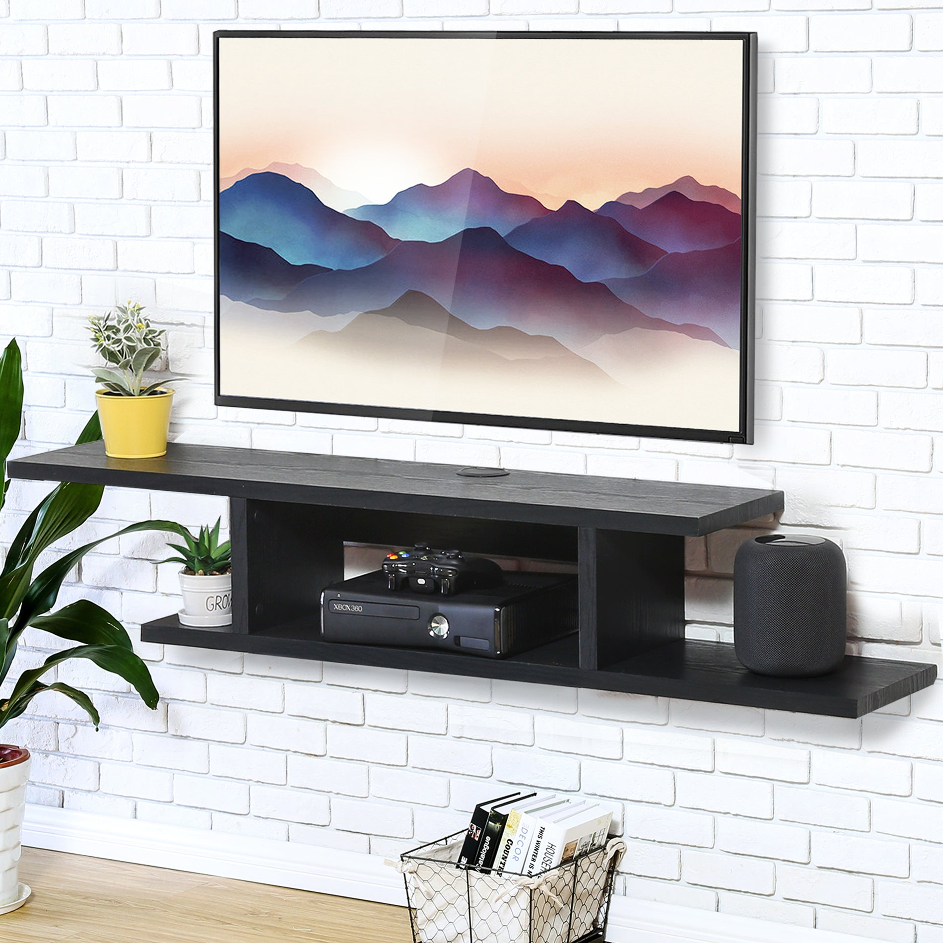 low priced d9c8c ad0b4 FITUEYES Wall Mounted Media Console,Floating TV Stand Component Shelf,Black  Grain,DS211801WB