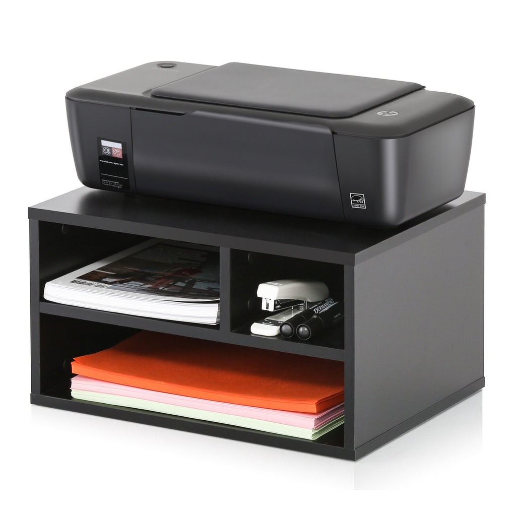 FITUEYES Wood Printer Stands with Storage, Workspace Desk Organizers for Home & Office, Black, DO304001WB
