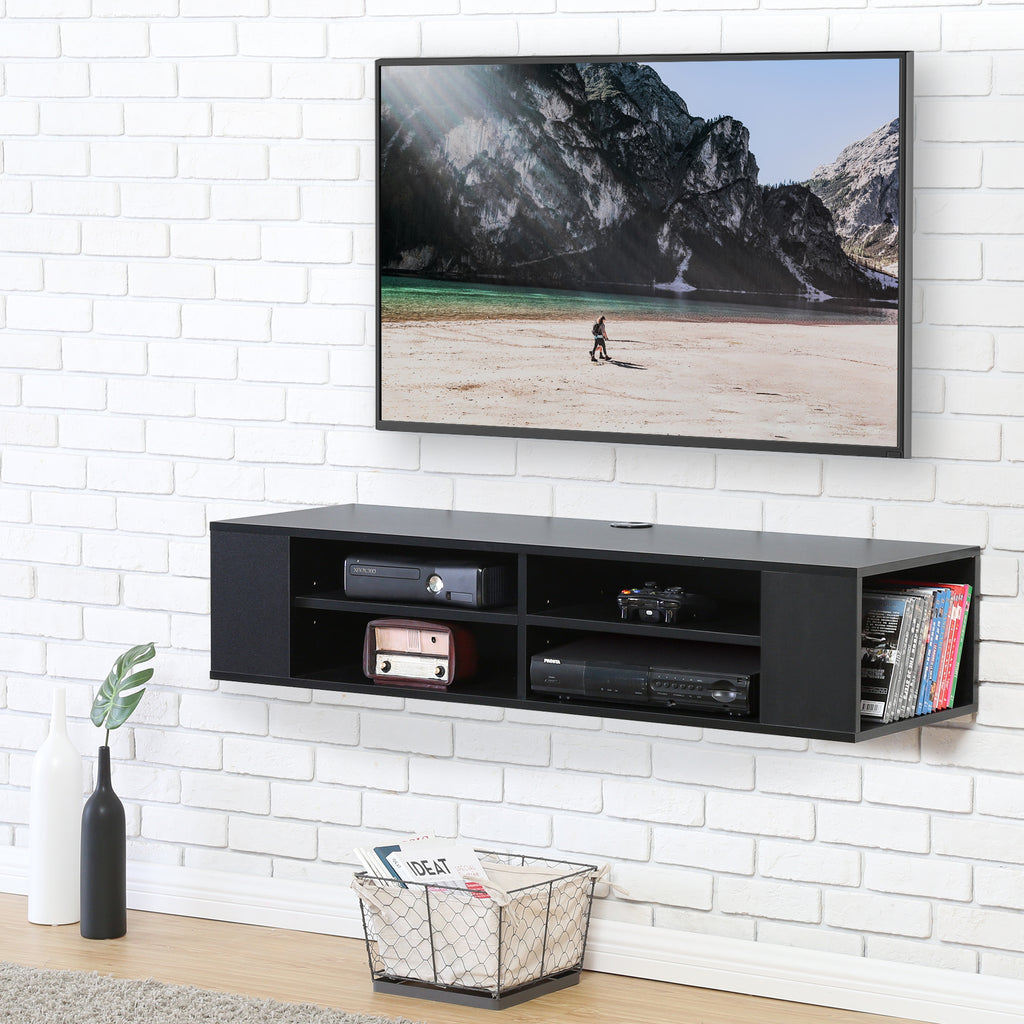 FITUEYES Wall Mounted Audio/Video Console Black Wood grain for xbox one/PS4/vizio/Sumsung/sony TV DS212002WB