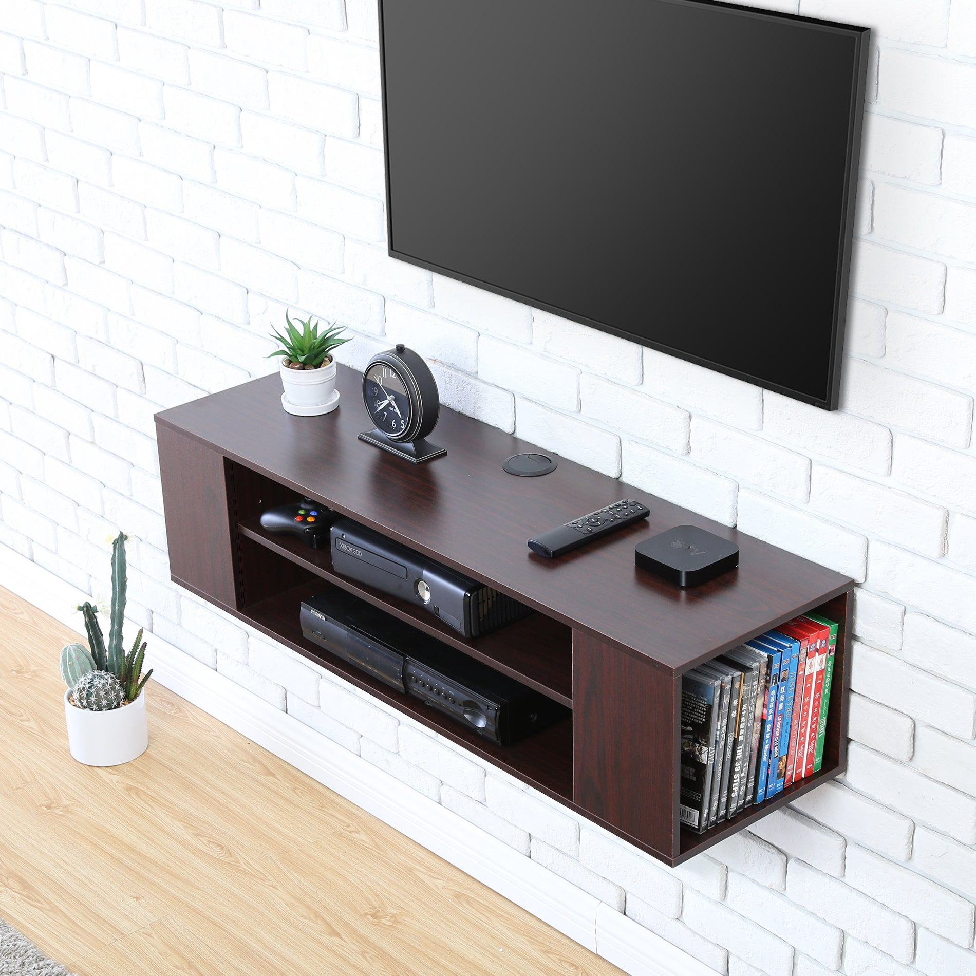 wall mount tv cabinet media console entertainment center. Black Bedroom Furniture Sets. Home Design Ideas