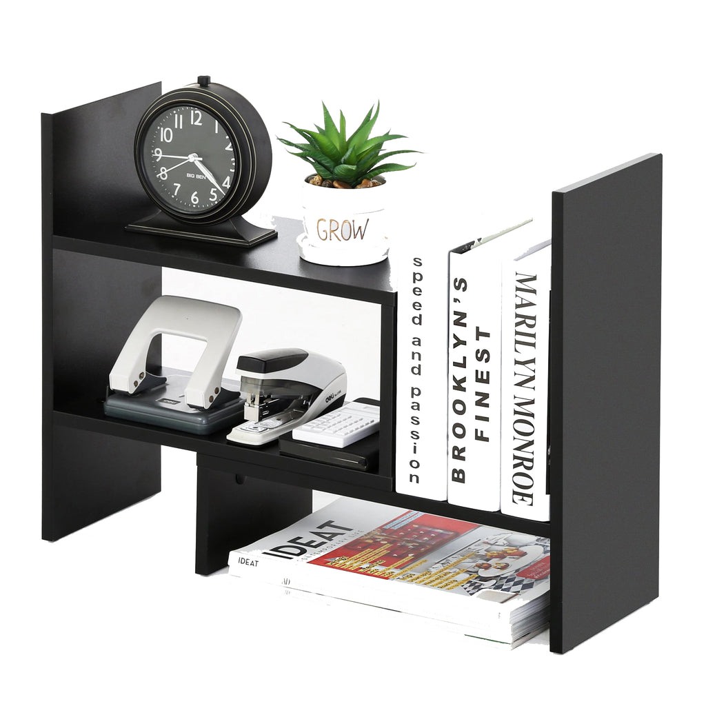 FITUEYES Desktop Organizer Office Storage Rack Adjustable Wood Display Shelf - Free Style Display True Natural Stand Shelf Rack Counter Top BookcasShelf Rack Counter Top Bookcase DT306801WB