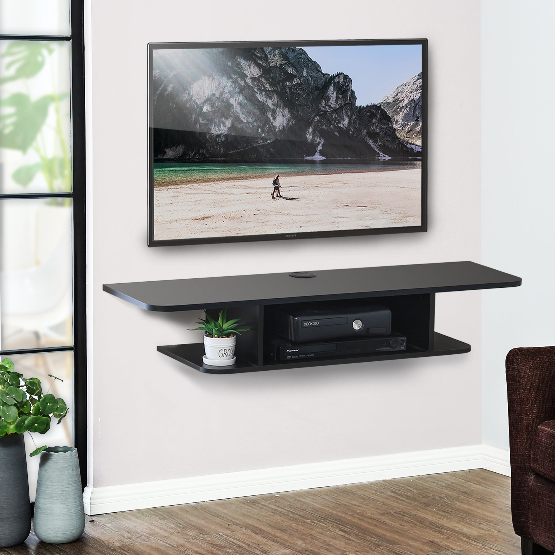 new arrival d99f1 3cde8 FITUEYES Wall Mounted Media Console,Floating TV Stand Component Shelf,Black  ,DS210501WB