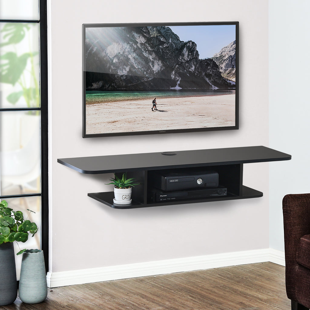FITUEYES Wall Mounted Media Console,Floating TV Stand Component Shelf, Black, DS210501WB