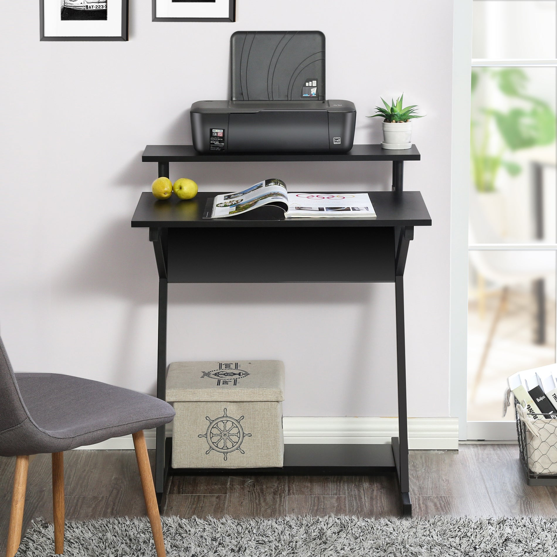 Fitueyes Small Computer Desk With Monitor & Printer Shelf,Study Writing  Desk for Small Spaces,CD307001WB