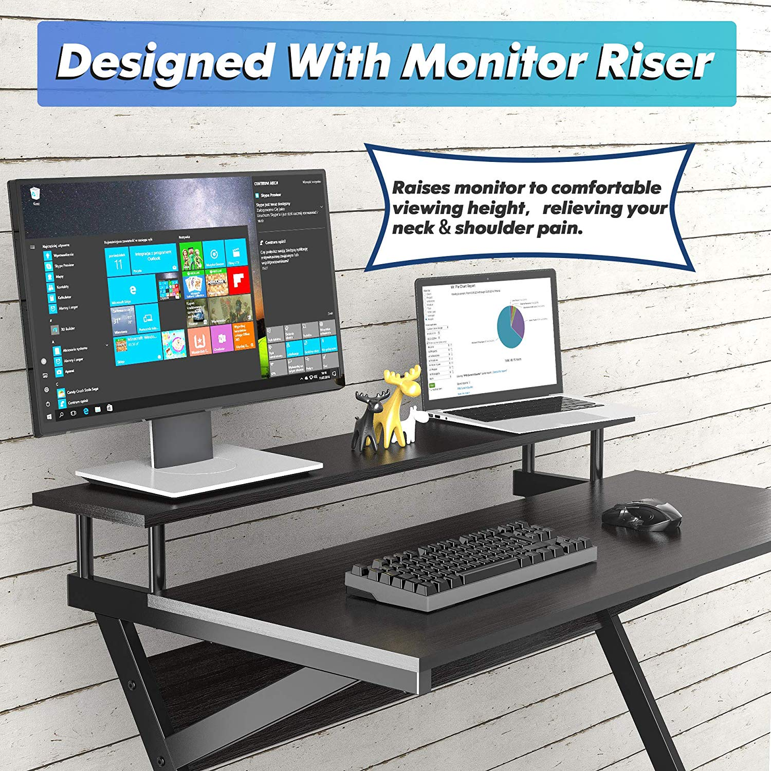 FITUEYES Computer Desk With Monitor Stand,Gaming Table