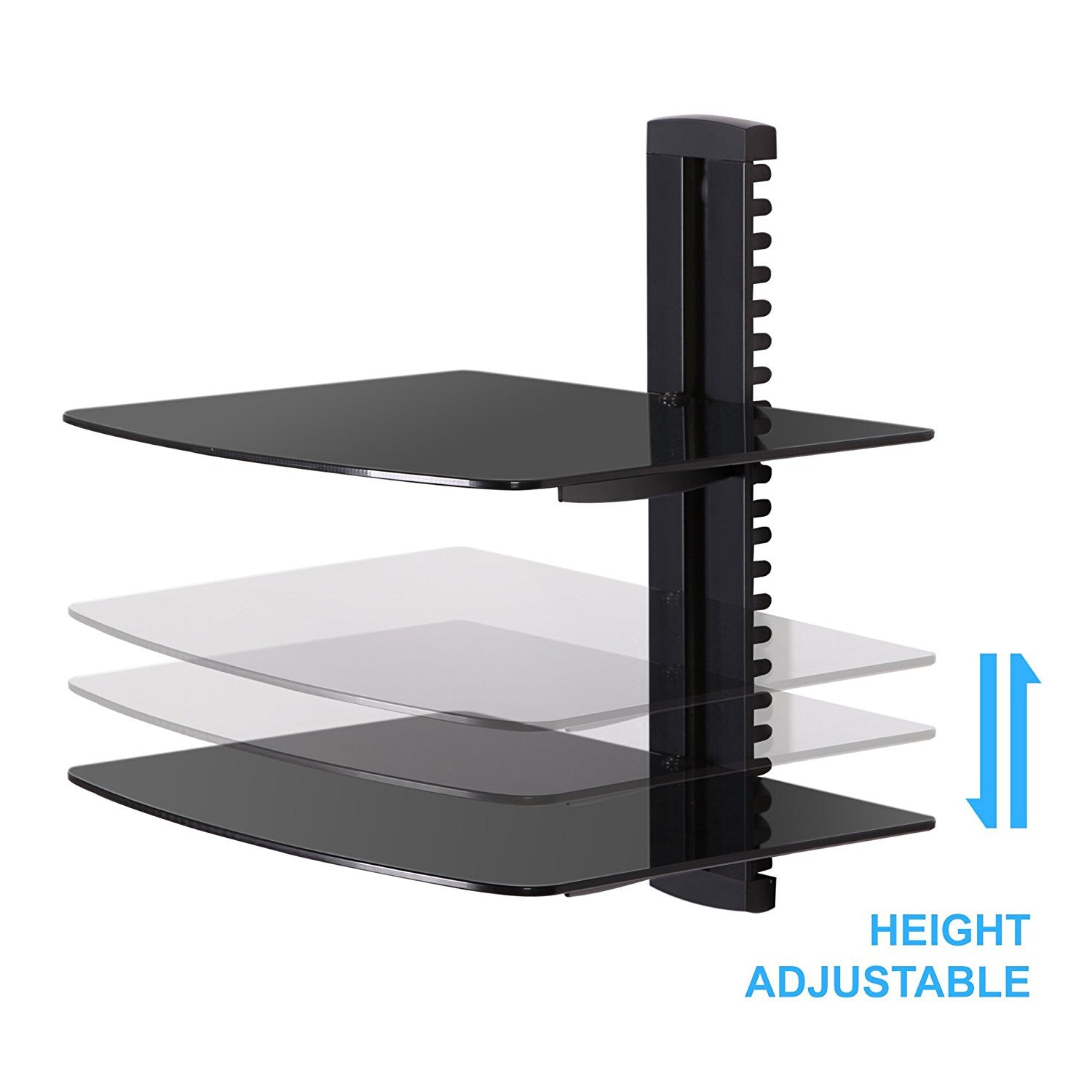 Black 2 tier adjustable wall mount glass floating av dvd fitueyes tempered glass black 2 tiers floating shelves av shelf wall mount shelf black bracket stand for dvd playersblu ray players av receiver amipublicfo Gallery