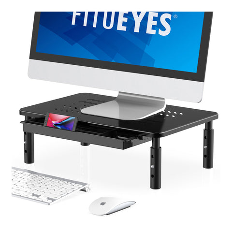 FITUEYES Laptop Computer Monitor Stand Riser with Height Adjustable Desktop for PC, Ipad, Printer Display with Vented Metal Platform DT115901MB