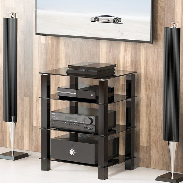 Tv Media Stand Storage Tower Glass Shelves Storage For Av