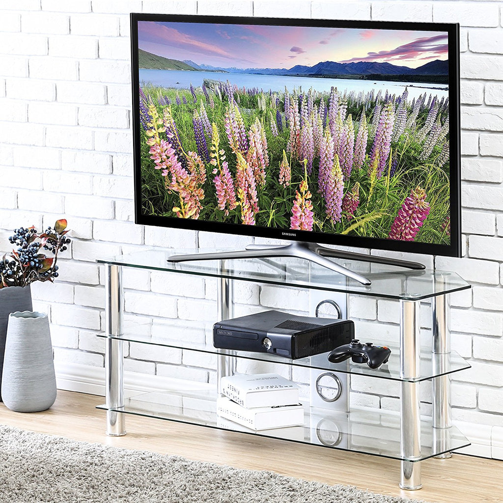 Fitueyes curved silver corner tv stand for up to 46inch Chrome legs with clear glass TS310501GT