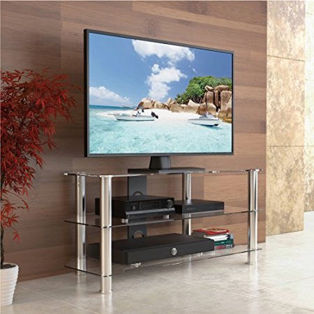 Fitueyes Glass Floor Tv Stand For Up To 50 Inch Samsung