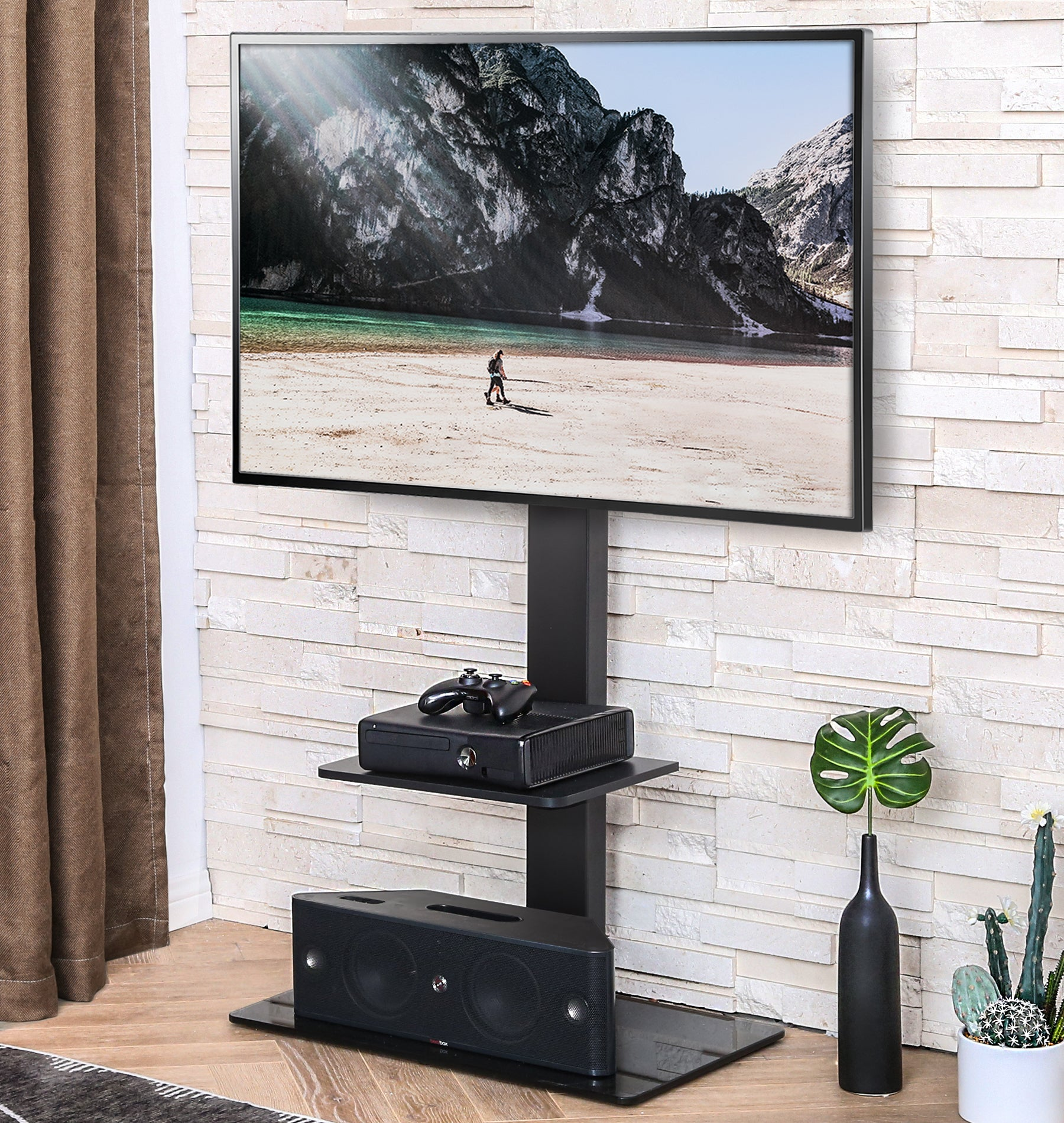 Picture of: Fitueyes Swivel Floor Tv Stand With Mount For 32 65 Inch Samsung Lg Vi Fitueyes