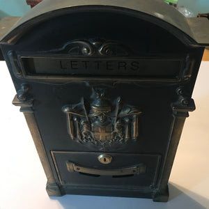 Vintage Brass Standard Residential Mailbox Wall Ornate Art Antique keyed but no key