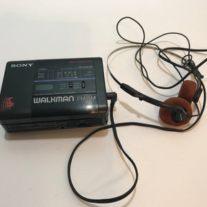 Vintage SONY Walkman WM-F66 Stereo Cassette-corder FM-AM Radio w/ headphones