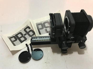 NIKON PB-6 Bellows Focusing attachment in box and PS-6 Slide