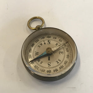 Vintage Antique Germany Small Compass Fob Pendant Beveled Face Works Steam Punk.