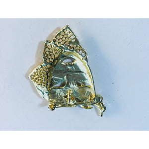 Vintage Brass Brooch Woman Brass Diamond Brooch Pin