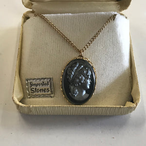 Women's Gray Cameo Charm Pendant Gold Filled Necklace