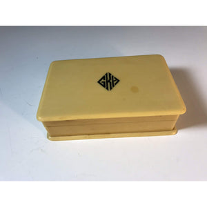 Art Deco Bakelite Box w Hinge Lid for Dresser Table Jewelry Box - Annzstiques