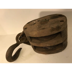 Boston & Lockport Block Co. Vintage Double Wood Block and Tackle Pulley - Annzstiques
